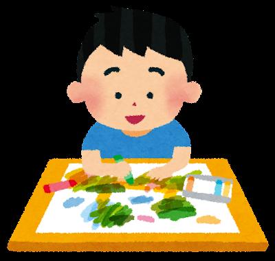 お絵描きをしている男の子のイラスト
