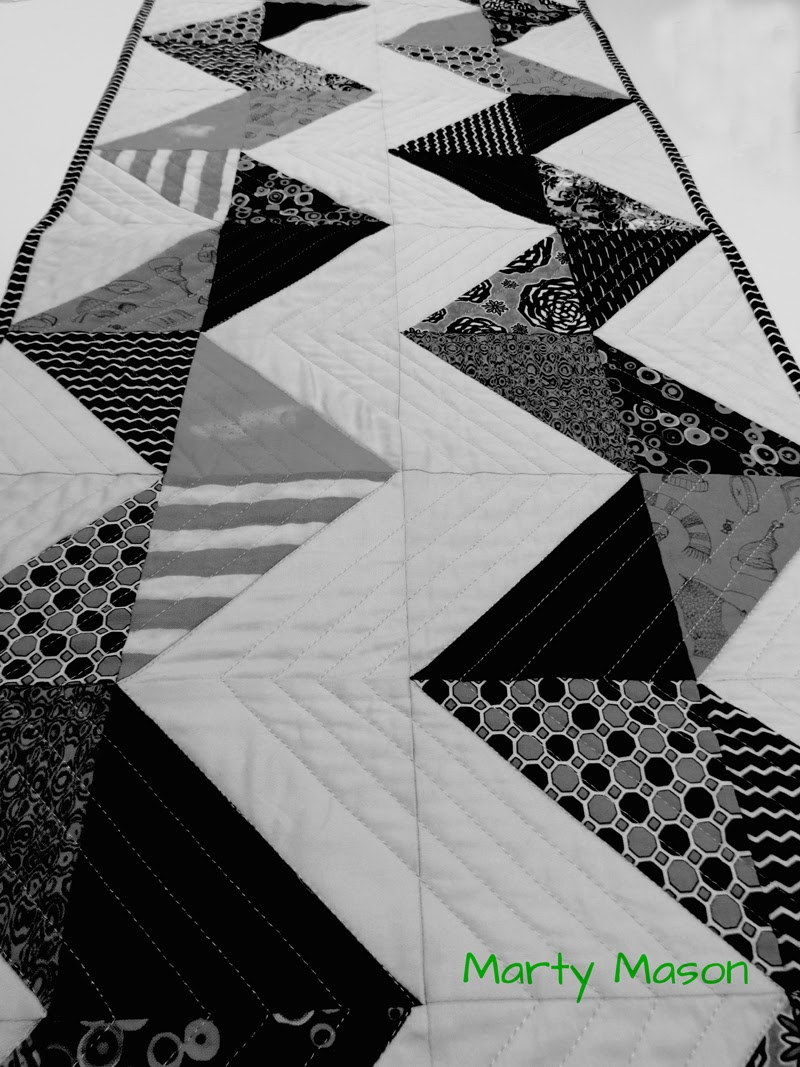 graphic quilted table runner in black and white....by Marty Mason, modern quilter