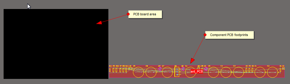 PCB Board with component footprints