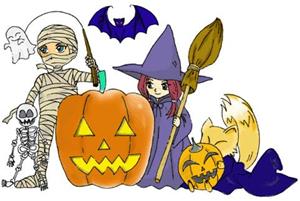 personajes de halloween dibujo