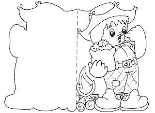 Convites para colorir de festa junina