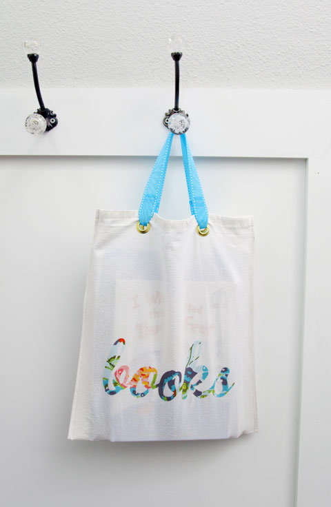 IHeart Organizing: DIY Flour Sack Book Bag {plus a Promo and a ...