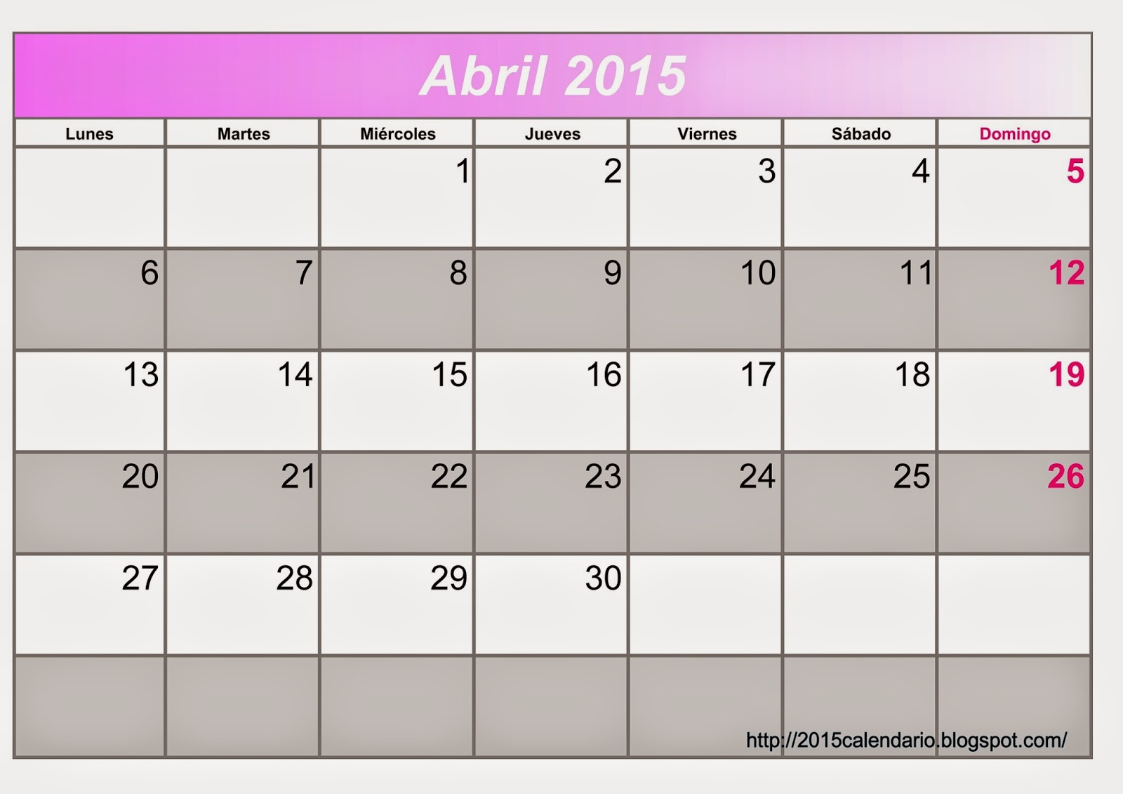 Calendario Abril 2015 Para Imprimir, Calendario 2015 para imprimir ...