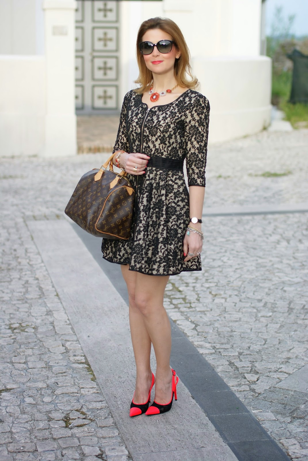 Blackfive dress, lace dress, Louis Vuitton speedy 30, Nando Muzi heels, Fashion and Cookies, fashion blogger