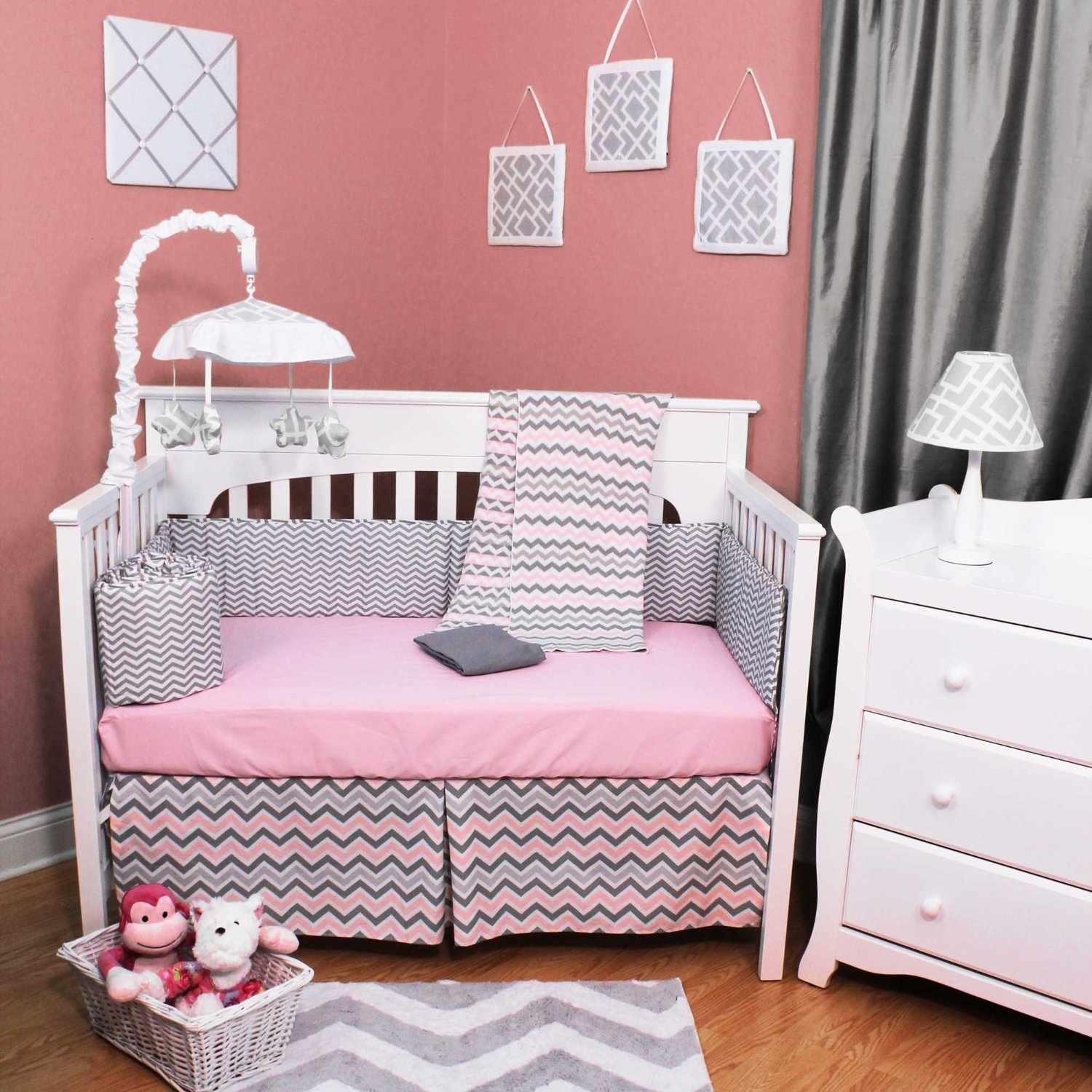 pink and grey crib bedding sets for baby girls 39 nursery. Black Bedroom Furniture Sets. Home Design Ideas