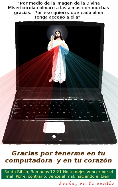 imagen de una computadora con la divina misericordia