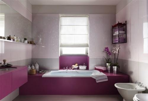 Ba os morados colores en casa for Azulejos bano morado