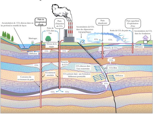 Chemins potentiels de fuite et processus associés au stockage géologique de CO 2 (Benson et Cook, 2005)
