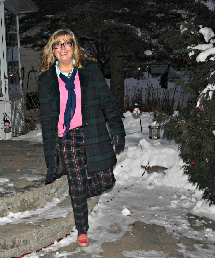 Forever 21 Plaid coat withTarget plaid pants with a pink cashmere sweater  and tommy loafers 4