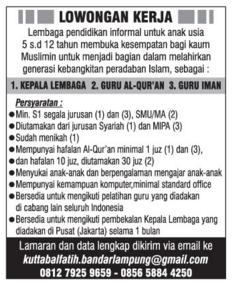 Karir Kerja Sebagai GURU Lampung