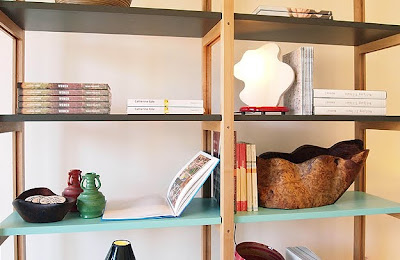 bookcase with blue shelf