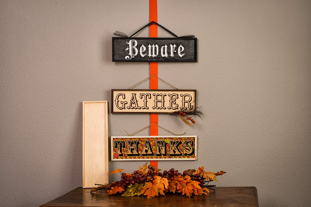 Fall Wood Sign Plaques @craftsavvy @sarahowens #craftwarehouse #fall #sign #party #diy
