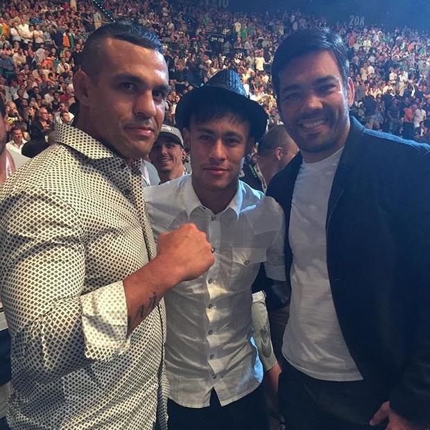 Vitor Belfort, Neymar and Lyoto Machida at UFC 189 in Las Vegas
