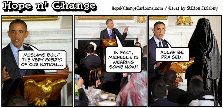 obama, obama jokes, islam, ramadan, conservative, hope n' change, hope and change, stilton jarlsberg, michelle, fabric