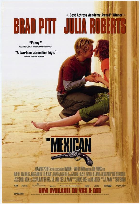 The Mexican (released in 2001) - Starring Brad Pitt, Julia Roberts, James Gandolfini - Carrying a cursed gun