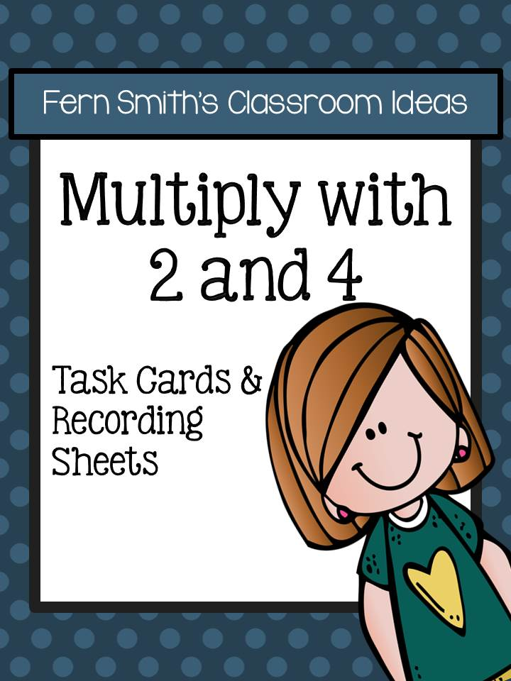 Multiply with 2 and 4 Task Cards and Recording Sheets with No Common Core Listing