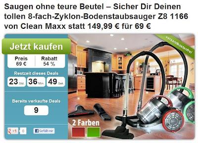 Produkt-Deal bei DailyDeal: Clean Maxx Kompakt Multizyklon Z8 1166 für 69 Euro (Preisvergleich: 90,90 Euro)