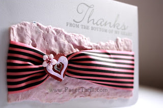 Handmade thank you love pink card