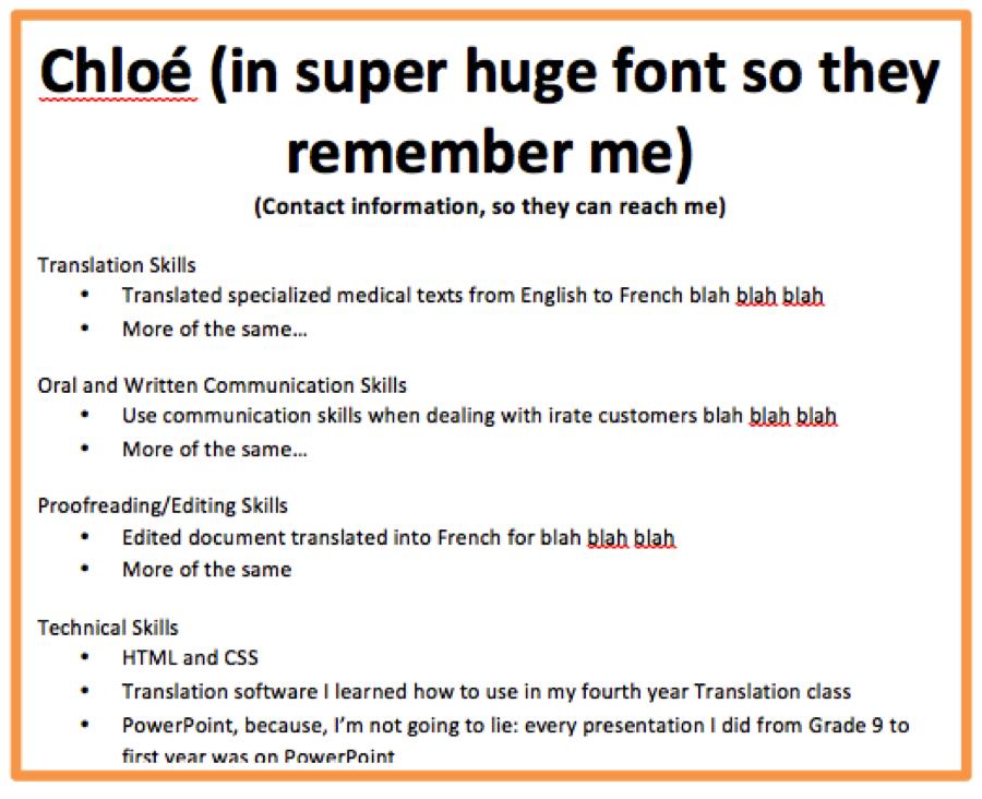 student translator resume