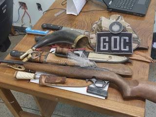 Armas apreendidas com suspeitos de caçar javalis no DF (Foto: Polícia Militar/Divulgação)