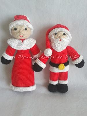 amigurumis papa noel y sra. claus realizados a crochet