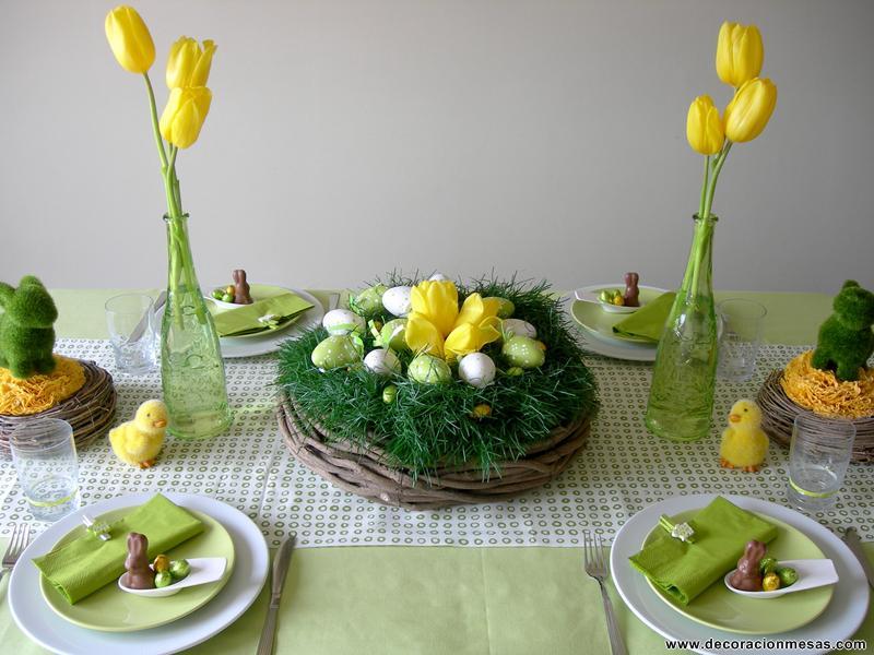 Decoracion de mesas mesa de pascua for Decoracion de pascua