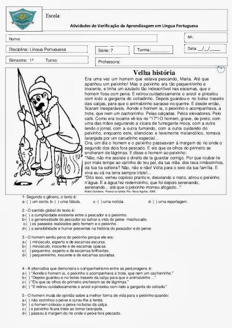 Prova de português 8° ano (7° série) com gabarito