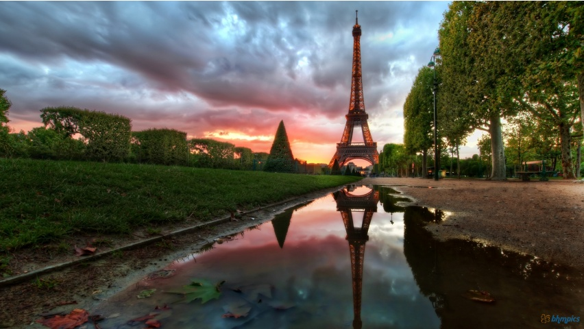 Reflections on The Eiffel Tower, paris