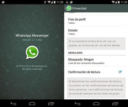 Ya se puede configurar el envío de la confirmación de lectura en Whatsapp.