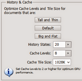 History & Cache Option in Adobe Photoshop