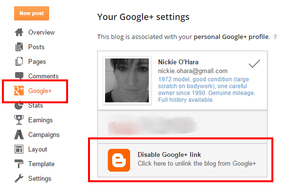 unlink your Blogger profile from Google Plus