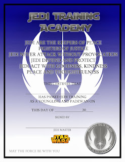 Lovely things star wars jedi training certificate free for Jedi knight certificate template