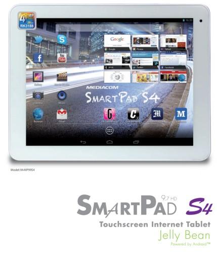 Mediacom aggiorna il modello Smart Pad 9,7 HD con una versione con processore quad core Cortex A9