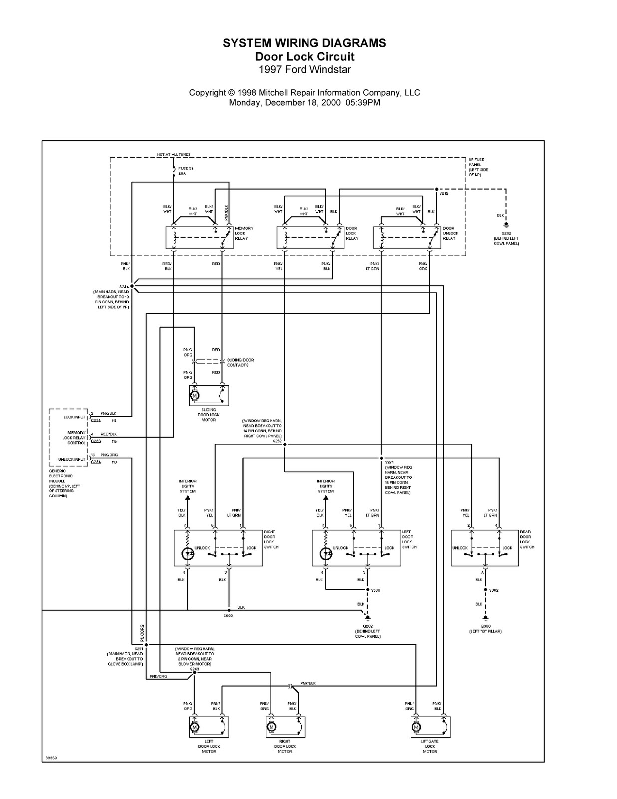 2001 Ford Windstar Wiring Diagram - Ford Windstar Wiring Diagram - 2001 Ford Windstar Wiring Diagram