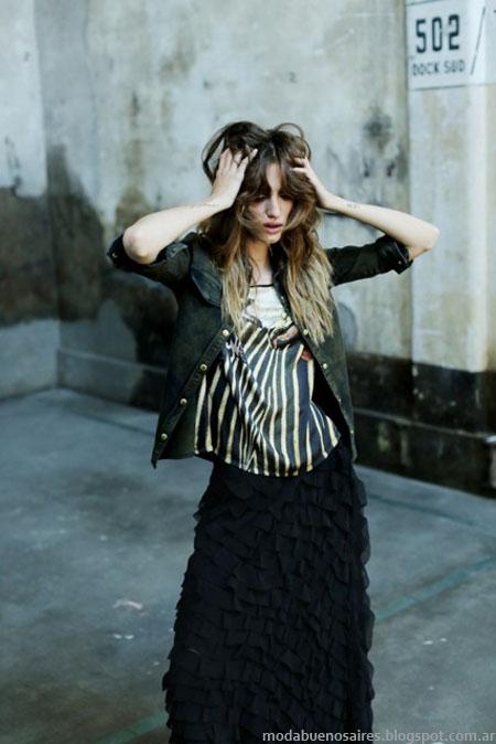 Faldas largas combinadas con blusas y camperas de jeans, un look casual de la propuesta Tucci otoño invierno 2014.
