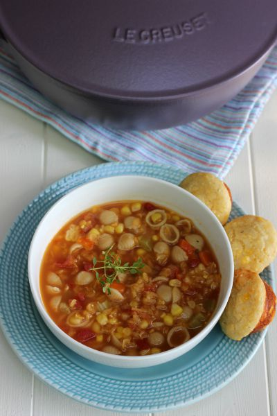 Lentil Soup with Yogurt Cornbread Mini Muffins
