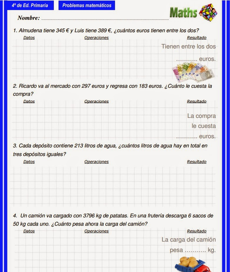 EL PATIO DE GEMMA: 326. PROBLEMAS 4º IMPRIMIR Y DIGITAL