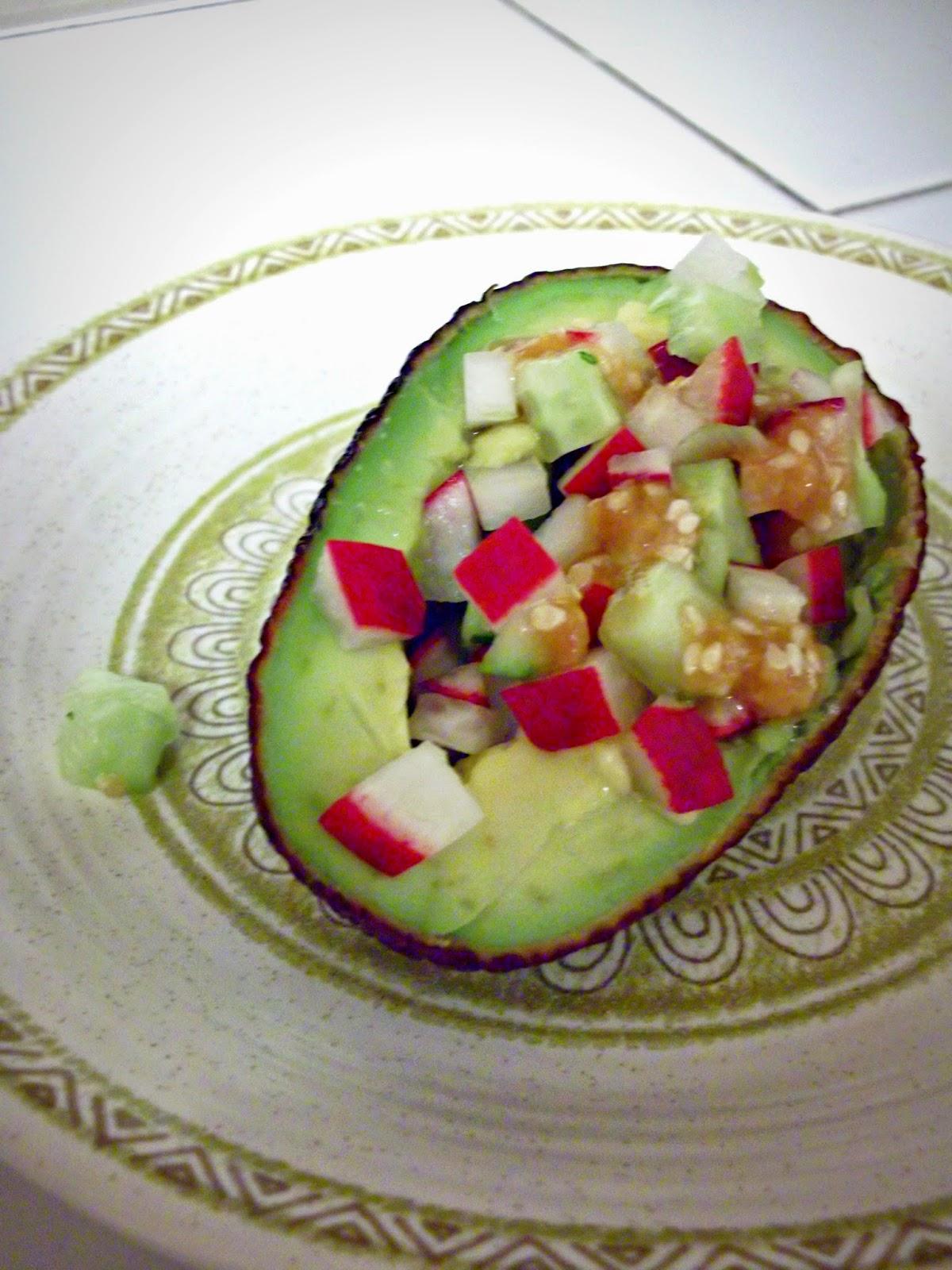 Julia S Vegan Kitchen Avocado Cup Salad With Cucumbers Radishes
