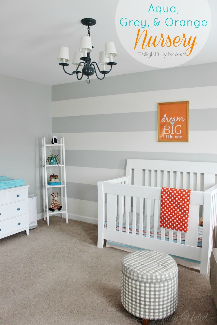 Aqua, Grey, and Orange Nursery with Stripe Walls and Lots of DIY Projects #nursery #diy