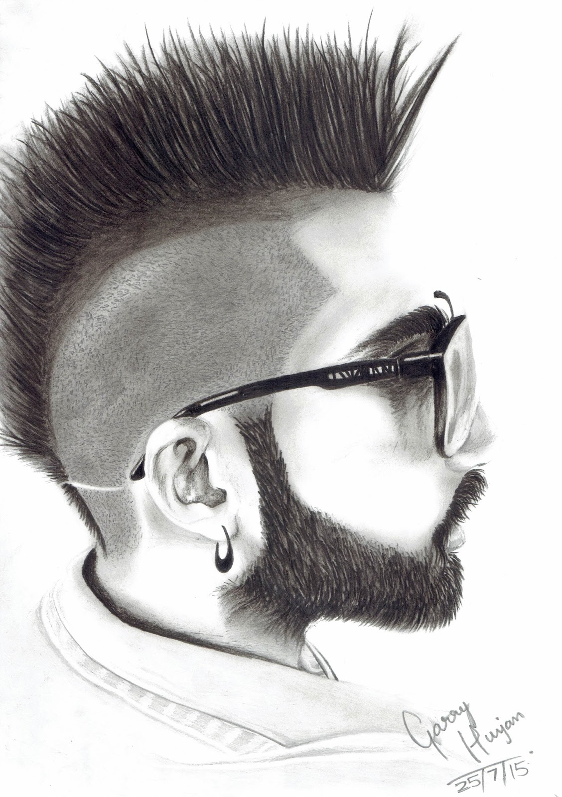Sketch of a growing musical star sukh e used camlin soft charcoal pencil for hairs beard camlin graphite lead hb 2b 3b 6b on facial shading and
