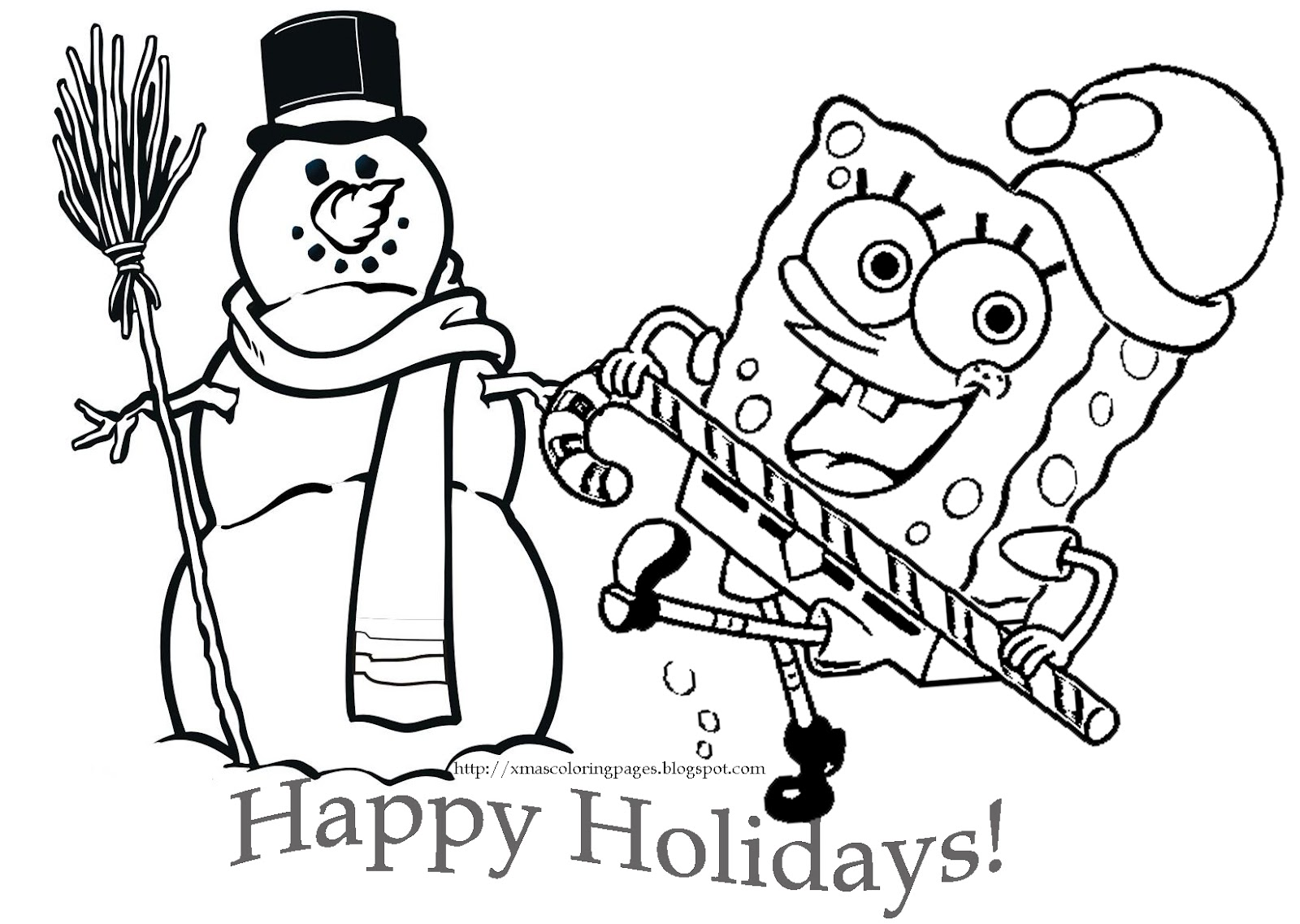 CHRISTMAS SPONGEBOB COLORING PAGE