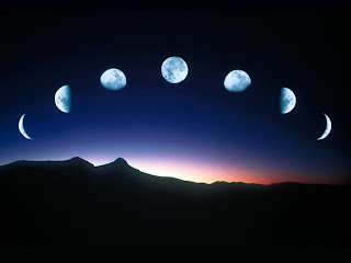 The Moon in varying stages, shown on a night's sky