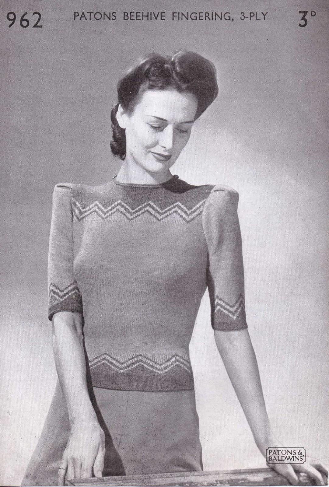 Free Vintage Knitting Patterns 1940s : The Vintage Pattern Files: 1940s Knitting - Zig Zag Top