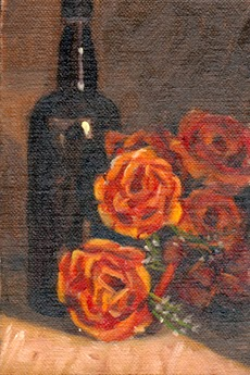Oil painting of an antique whisky bottle alongside a bunch of red plastic roses.