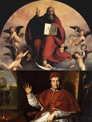 En la parte superior de la imagen Dios Padre Alfa y Omega, en la inferir SS. Clemente XI.