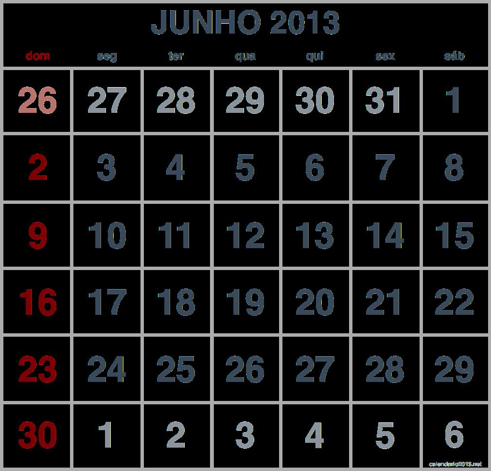 imagem calendario junho 2013