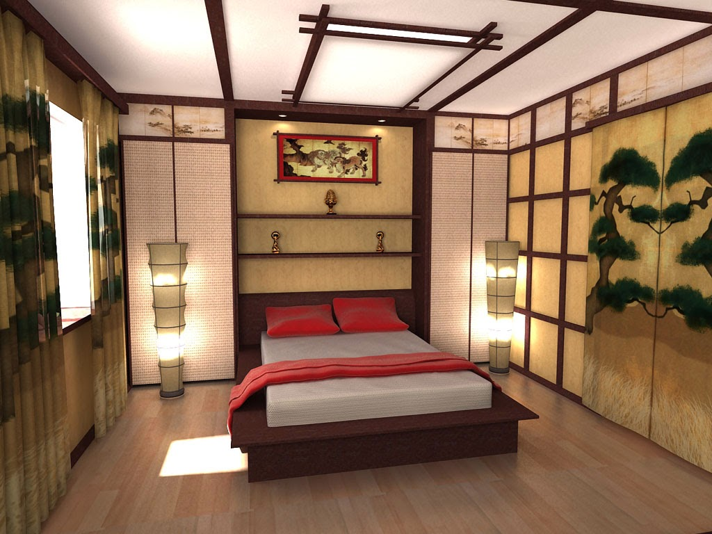 Ceiling design ideas in japanese style for Bed styling ideas