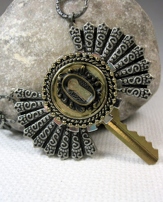 Altered steampunk style key necklace
