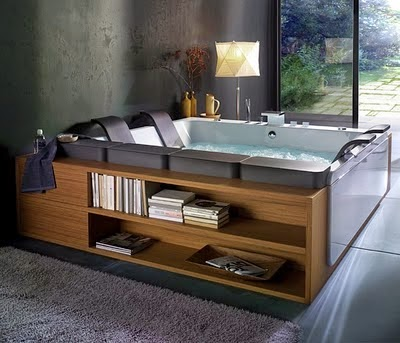 modern hot tub with wooden shelves design
