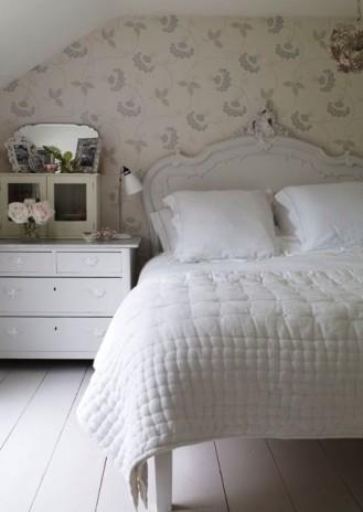 Astounding Grey White Feminine Bedroom